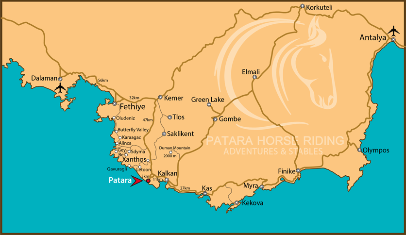 Patara Area Map Souther Turkey